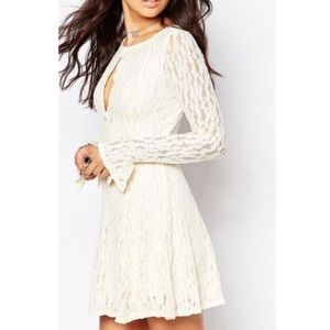 NWT free people cream lace corded Fit Flare Dress